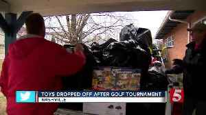 Toys dropped off after golf tournament [Video]