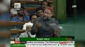 News video: Asaduddin Owaisi tears up copy of CAB in Lok Sabha
