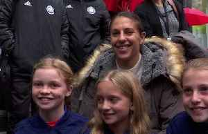 'Keep fighting for what's right' - soccer star Carli Lloyd at Broadway marker honoring in NY [Video]