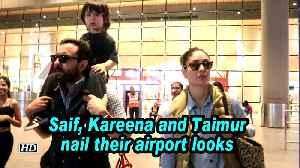 Saif, Kareena and Taimur nail their airport looks [Video]