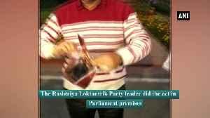 Lok Sabha MP Hanuman Beniwal tears poster of Panipat in Parliament premises [Video]