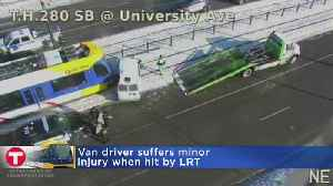 News video: Section Of Green Line Closed After Van Crashes Into Light Rail Train