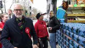 Jeremy Corbyn in jubilant mood meeting supporters on way to London polling station [Video]