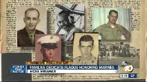 Families dedicate MCAS Miramar plaque honoring Marines [Video]
