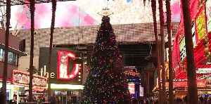 Christmas tree at Fremont Street [Video]