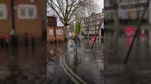 Voters wade through flood after water main bursts near London polling station [Video]