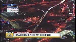 Multi-car accident blocking I-77 at the I-90 merge [Video]