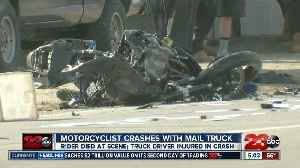 Motorcyclist killed after colliding with mail struck [Video]