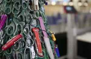 Tree of seized scissors, blades and lighters sends festive safety message [Video]