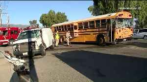 4 Children Among 6 Hospitalized After School Bus and Van Collide in SoCal [Video]