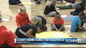 Students making blankets for charity [Video]