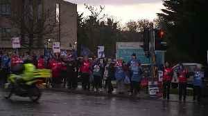 Nurses picket outside Ulster Hospital at start of strike [Video]