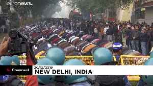 Student protest outside university in New Delhi [Video]