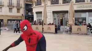 Spider-man performs tricks in France [Video]