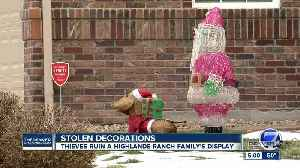 A Highlands Ranch family's Christmas decorations were destroyed for a third year [Video]