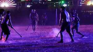 Locals play 'fire hockey' with ball of burning embers in northern Thailand [Video]