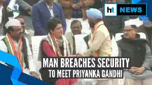 Watch: Priyanka Gandhi's reaction when man breached security to meet her [Video]