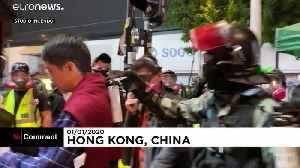 Hong Kong lawmaker gets pepper spray in the face as protests continue [Video]