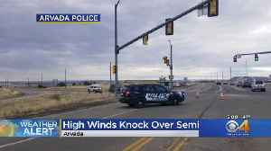 Winds Topping 60 MPH Blow Over Semi Truck On Highway 93 [Video]