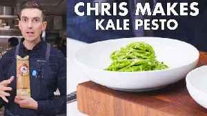 Chris Makes Kale Pesto Pasta [Video]