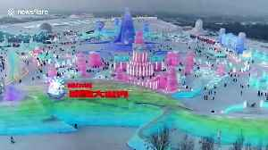 Drone footage showcases stunning ice sculptures at northern China's annual Ice and Snow Festival [Video]