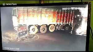 Truck crash on north Indian road into transformer causes large electrical fire [Video]