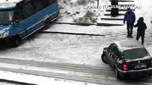 Skid and collide: icy roads leave Turkish drivers no other option [Video]