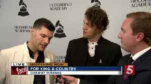 News video: Stars walk red carpet of Grammy party