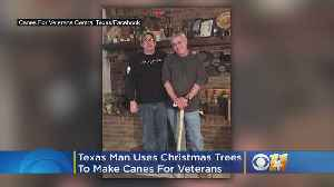 Texas Man Uses Christmas Trees To Make Canes For Veterans [Video]