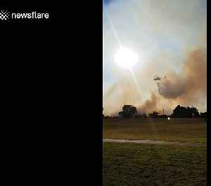 Waterbombing helicopter douses flames during bushfire in Forrestfield, Perth [Video]