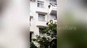 News video: Elderly Chinese woman lowers seven-year-old grandson from flat balcony to rescue stranded cat