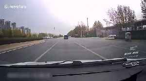 Family of four thrown out of minibus after it is crashed into by car on Chinese highway [Video]