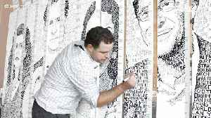 Artist Creates Huge Portraits Using Only Words [Video]