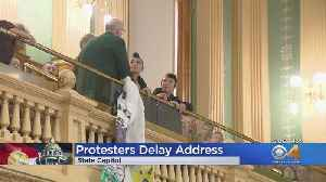 Climate Change Protests Delay State Of The State Address [Video]
