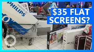 Supermarket offers cheap TVs on accident, kicks out shoppers [Video]