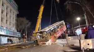 Nine people killed after sinkhole swallows bus while passengers were boarding in China [Video]