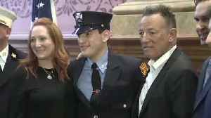 News video: Bruce Springsteen shows up for son's swearing-in as firefighter
