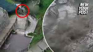 Landslide narrowly misses passerby in heart-pounding escape [Video]