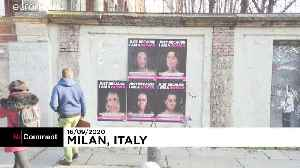 Battered faces of female celebrities appear in Italian street art to denounce violence