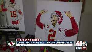 Artist 'predicting the future' with painting of Chiefs players with Lombardi Trophy [Video]