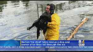 Bolton Fire Chief Rescues Dog And Owner Who Fell Through Ice [Video]