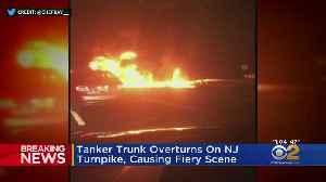 Tanker Truck Overturns On NJ Turnpike, Causing Fiery Scene [Video]