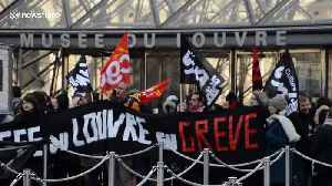 Nationwide french strike: Louvre Museum strike.17jan2020 [Video]