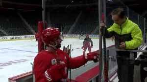 Larkin invites cancer survivor to Red Wings practice. [Video]