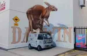 Street artist creates giant 3D graffiti art [Video]