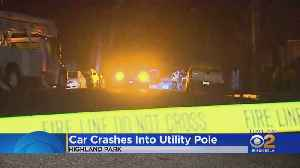 Car Crash Into Utility Pole Causes Power Outage In Highland Park [Video]