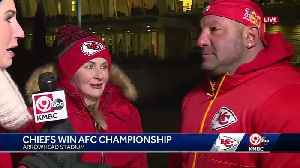 Couple traveled from New Jersey to watch Chiefs clinch Super Bowl berth [Video]