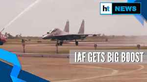 Watch: SU-30MKI fighter aircraft given water salute at the Thanjavur air base