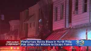 Flames Tear Through North Philadelphia Rowhome, Sending 1 Person To Hospital [Video]