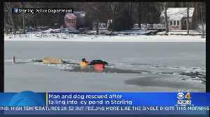 Man And Dog Rescued After Fallin Into Icy Sterling Pond [Video]